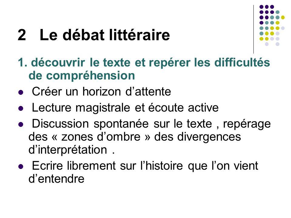 2 Le débat littéraire 1. découvrir le texte et repérer les difficultés de compréhension. Créer un horizon d'attente.