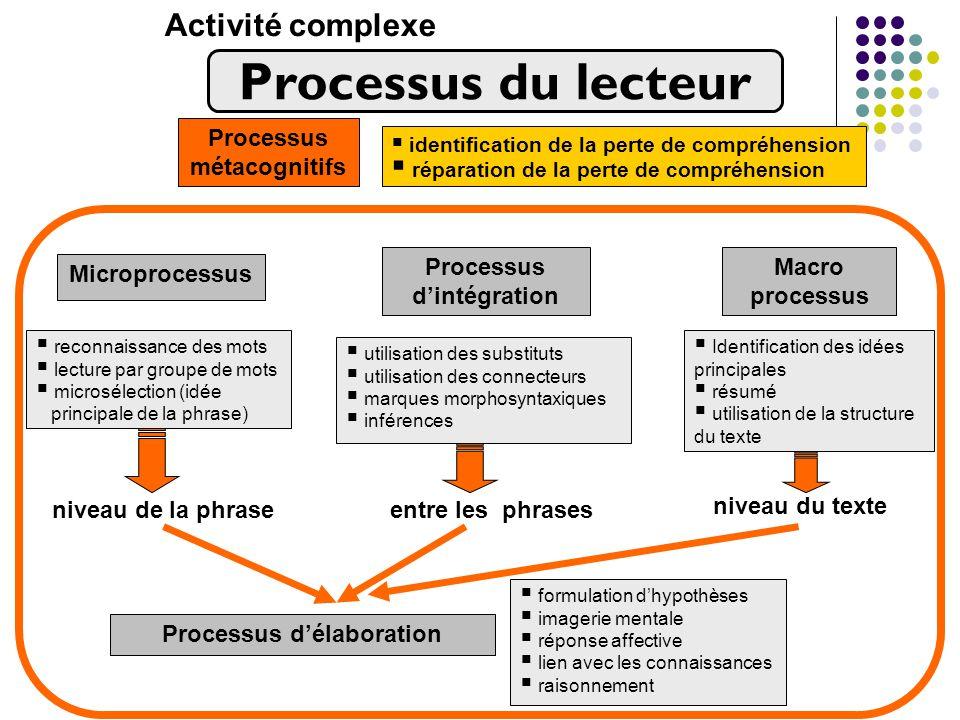 Processus du lecteur Activité complexe Processus métacognitifs