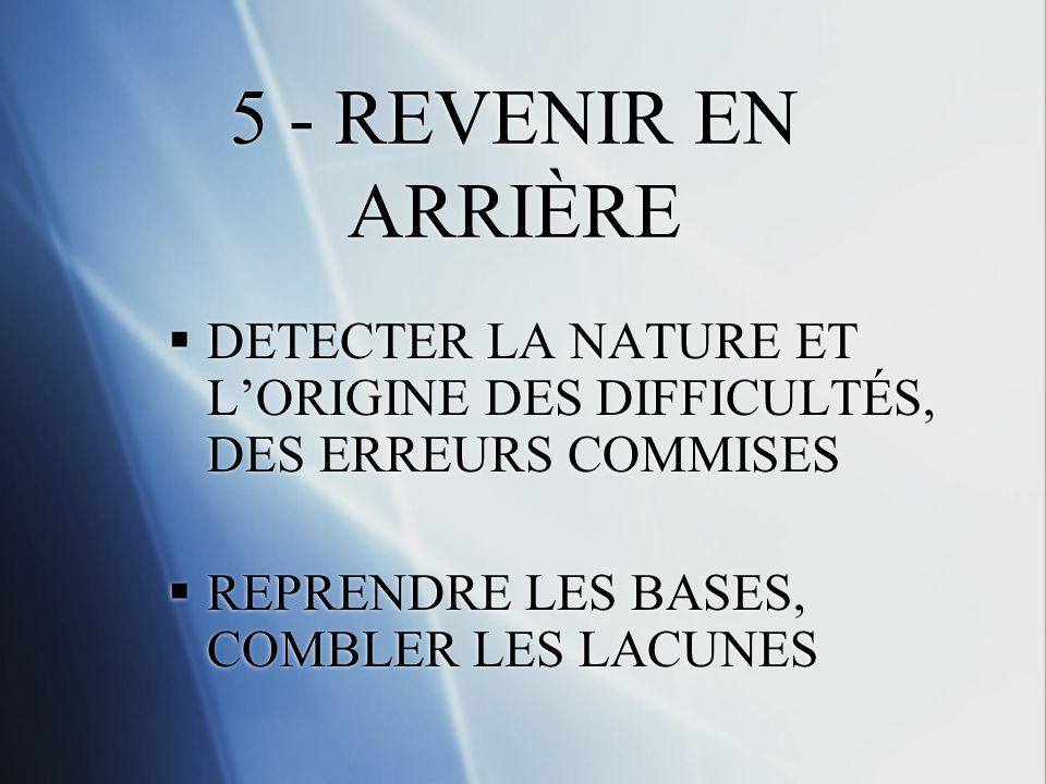 5 - REVENIR EN ARRIÈRE DETECTER LA NATURE ET L'ORIGINE DES DIFFICULTÉS, DES ERREURS COMMISES.