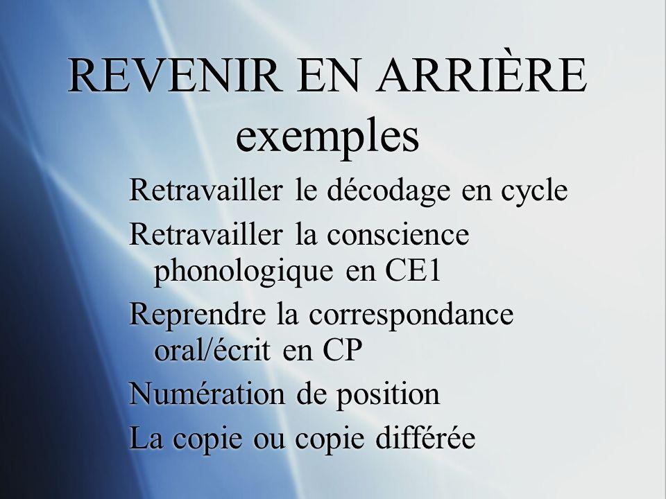 REVENIR EN ARRIÈRE exemples