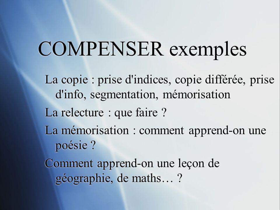 COMPENSER exemples La copie : prise d indices, copie différée, prise d info, segmentation, mémorisation.