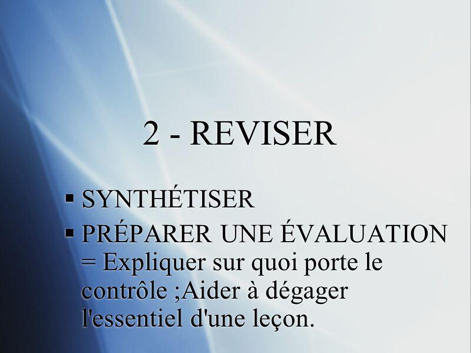 2 - REVISER SYNTHÉTISER.