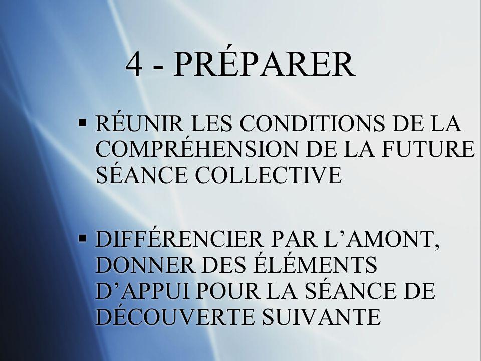 4 - PRÉPARER RÉUNIR LES CONDITIONS DE LA COMPRÉHENSION DE LA FUTURE SÉANCE COLLECTIVE.
