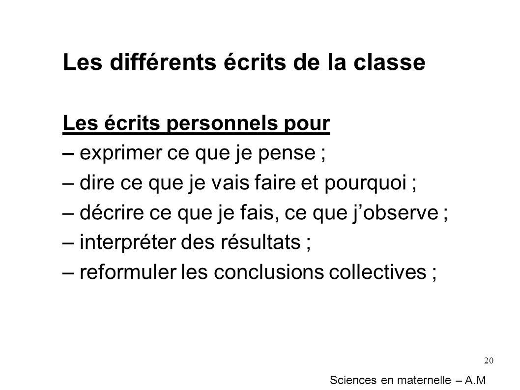Les différents écrits de la classe
