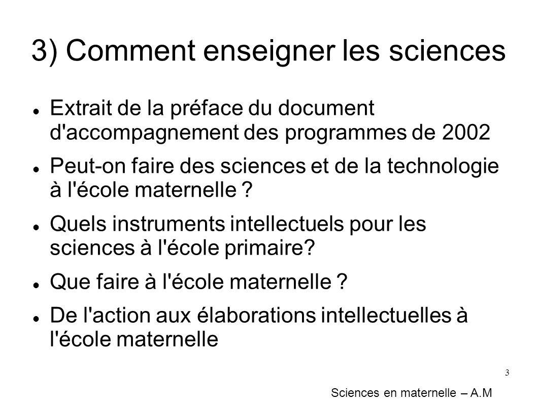 3) Comment enseigner les sciences