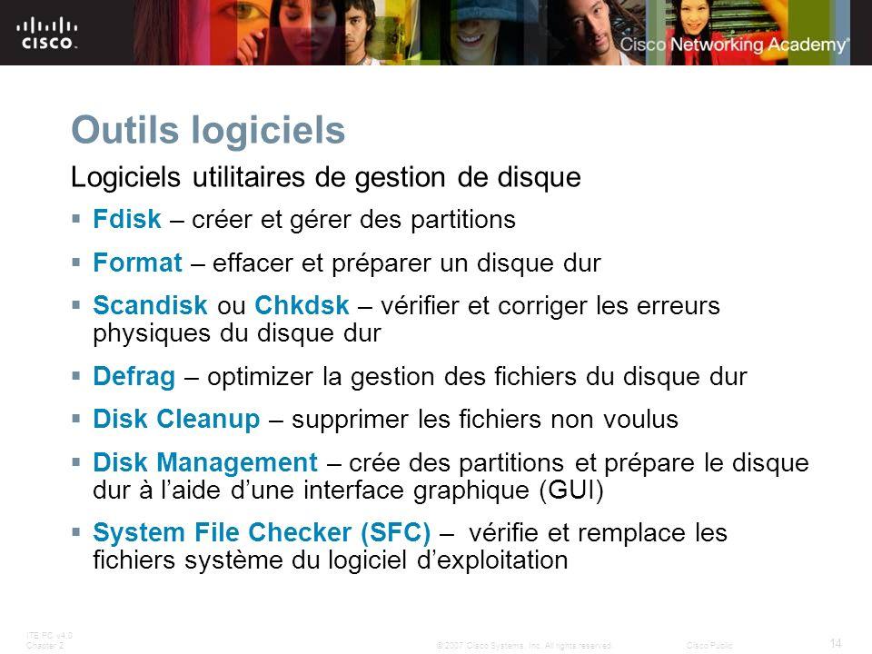 Outils logiciels Logiciels utilitaires de gestion de disque