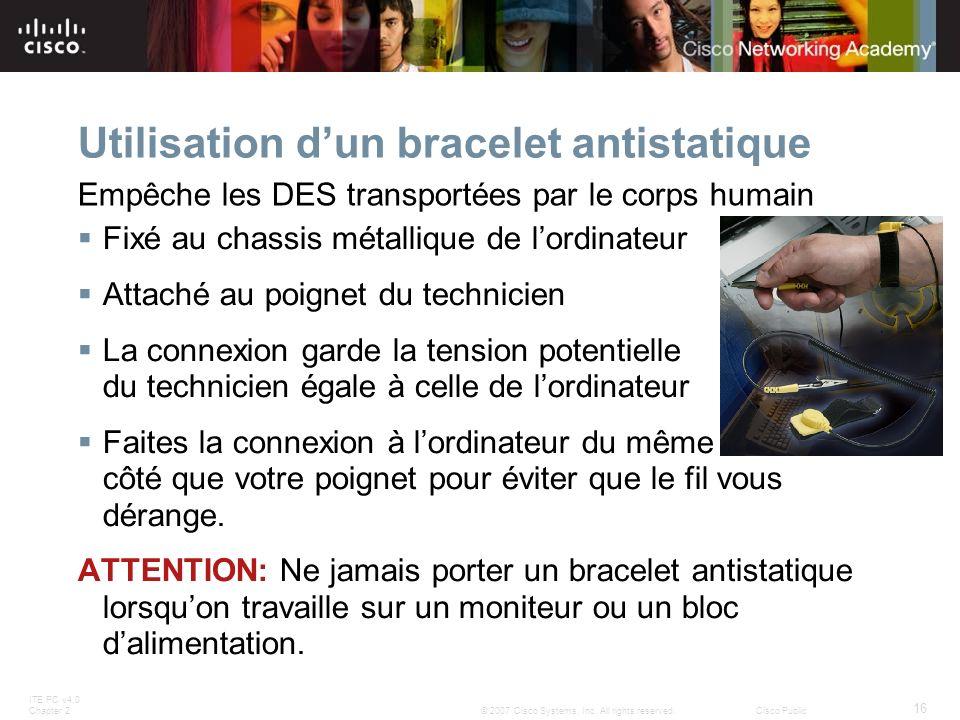 Utilisation d'un bracelet antistatique
