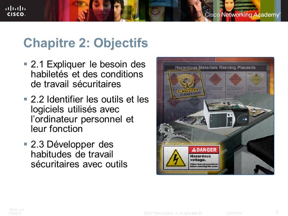 Chapitre 2: Objectifs 2.1 Expliquer le besoin des habiletés et des conditions de travail sécuritaires.