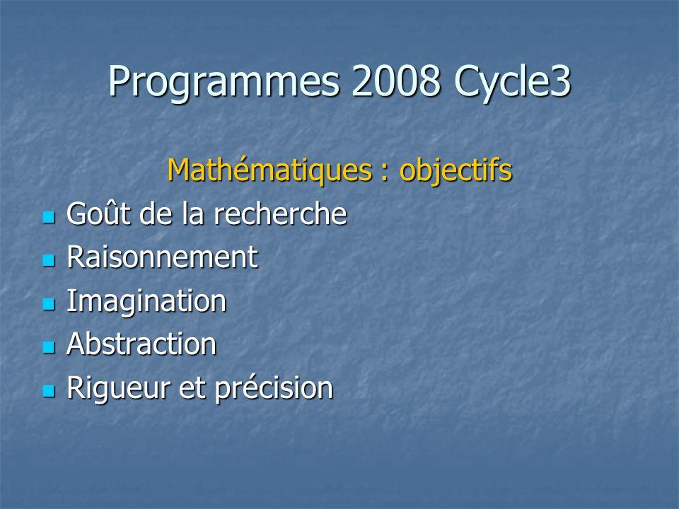 Mathématiques : objectifs
