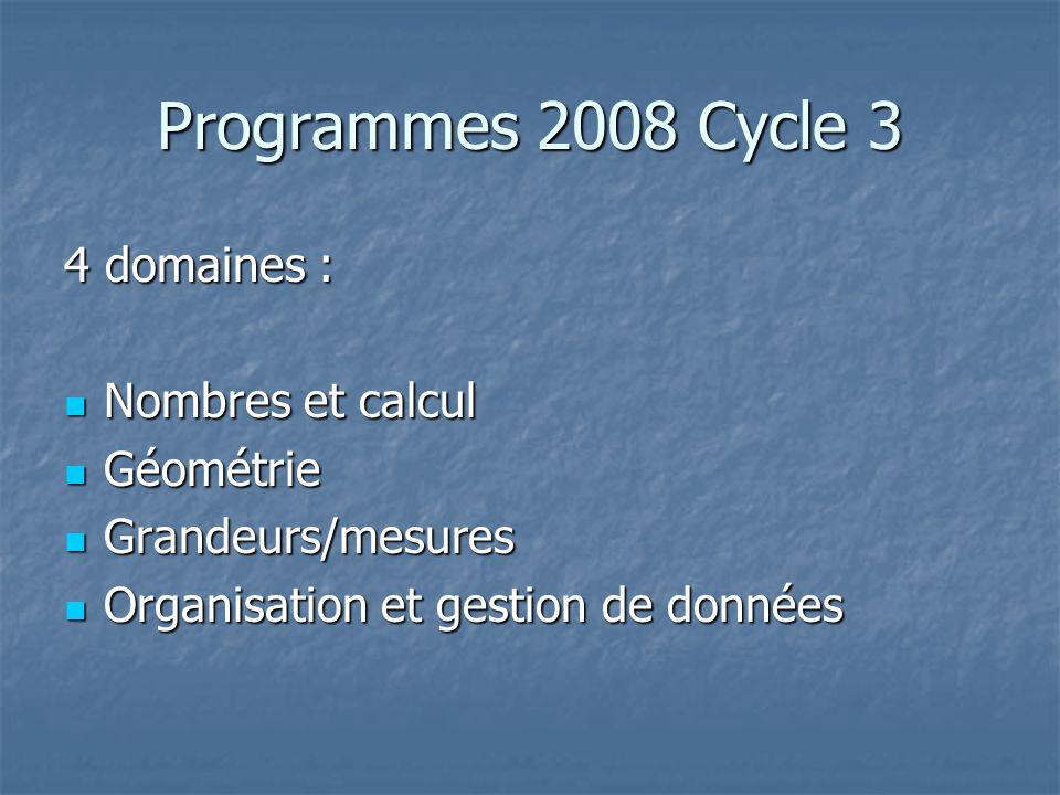 Programmes 2008 Cycle 3 4 domaines : Nombres et calcul Géométrie