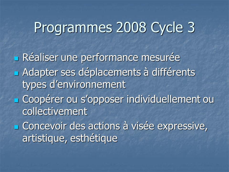 Programmes 2008 Cycle 3 Réaliser une performance mesurée