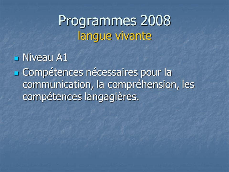 Programmes 2008 langue vivante