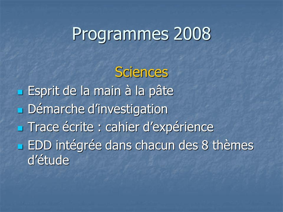 Programmes 2008 Sciences Esprit de la main à la pâte