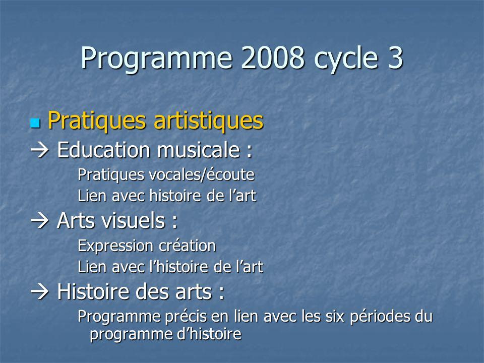 Programme 2008 cycle 3 Pratiques artistiques  Education musicale :
