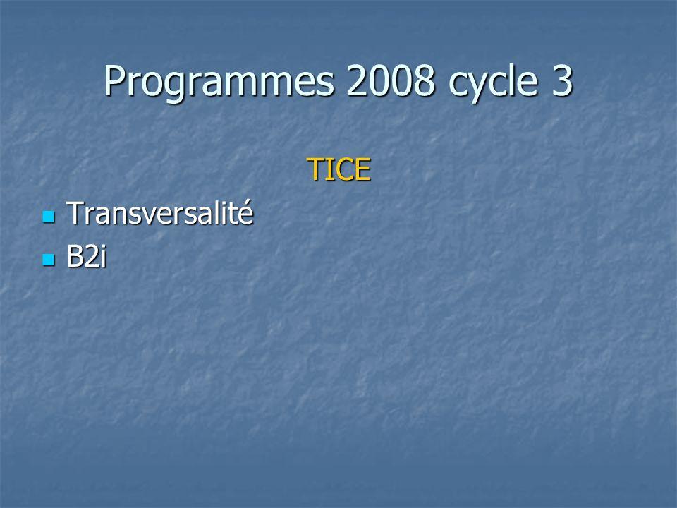 Programmes 2008 cycle 3 TICE Transversalité B2i