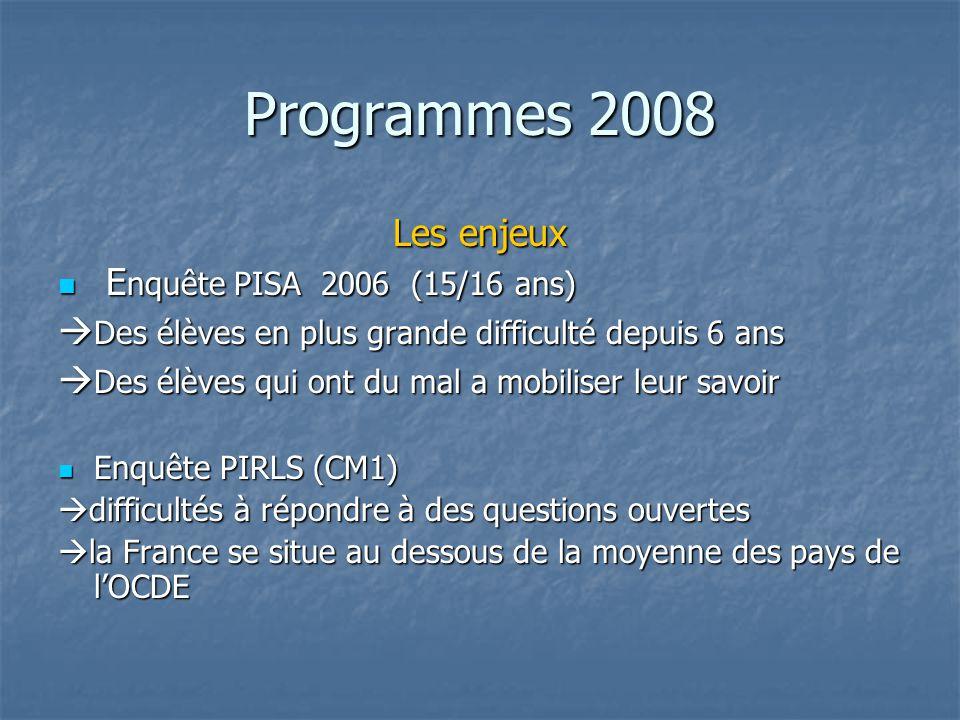 Programmes 2008 Les enjeux Enquête PISA 2006 (15/16 ans)