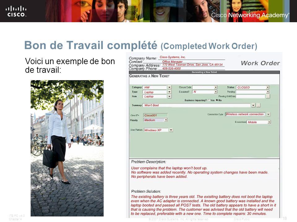 Bon de Travail complété (Completed Work Order)