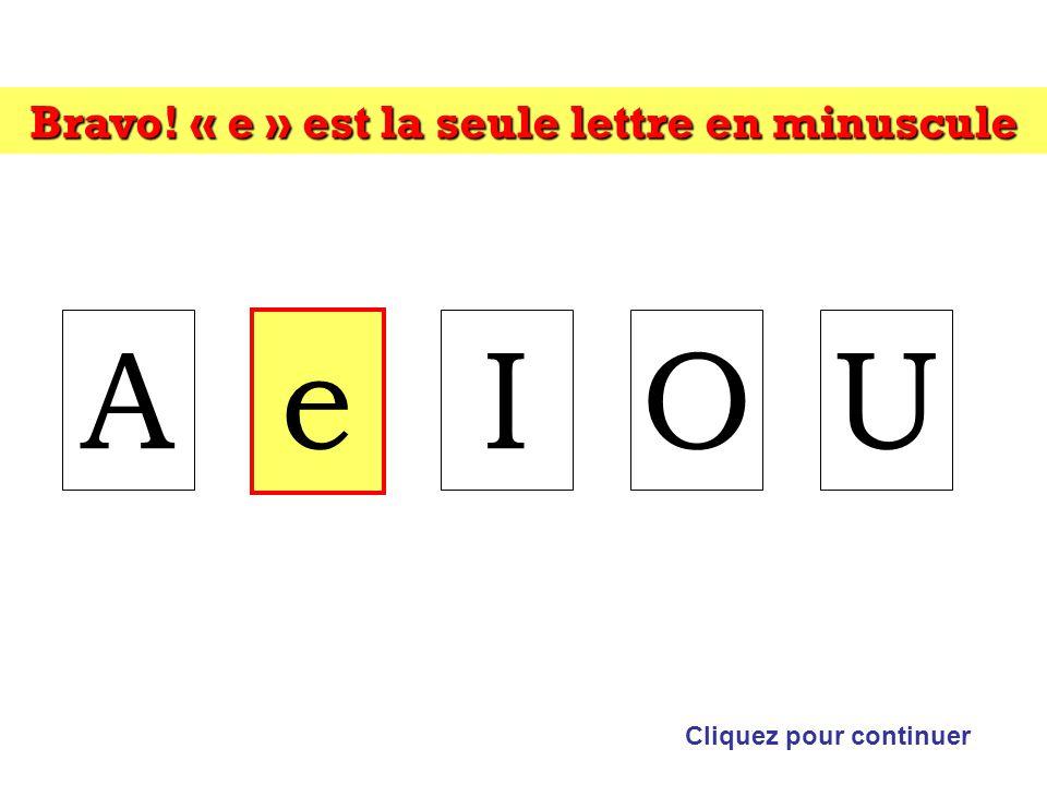 Bravo! « e » est la seule lettre en minuscule Cliquez pour continuer