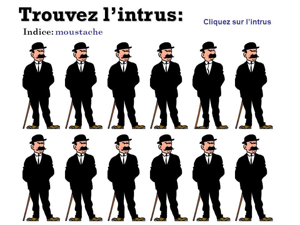 Trouvez l'intrus: Cliquez sur l'intrus Indice: moustache