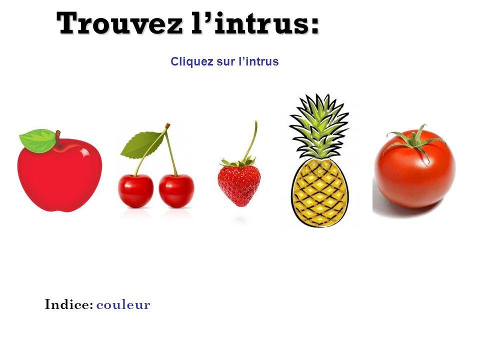Trouvez l'intrus: Cliquez sur l'intrus Indice: couleur