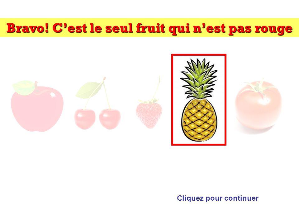Bravo! C'est le seul fruit qui n'est pas rouge Cliquez pour continuer