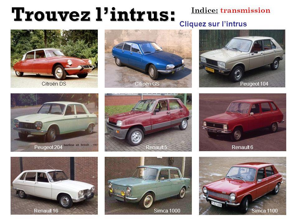 Trouvez l'intrus: Indice: transmission Cliquez sur l'intrus Citroën DS