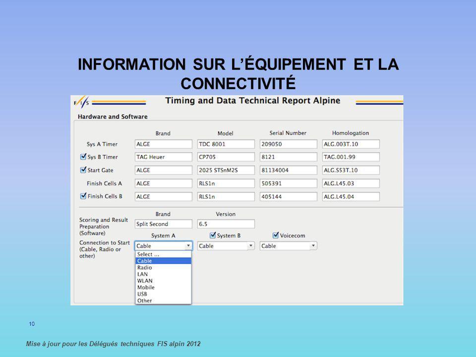 INFORMATION SUR L'ÉQUIPEMENT ET LA CONNECTIVITÉ