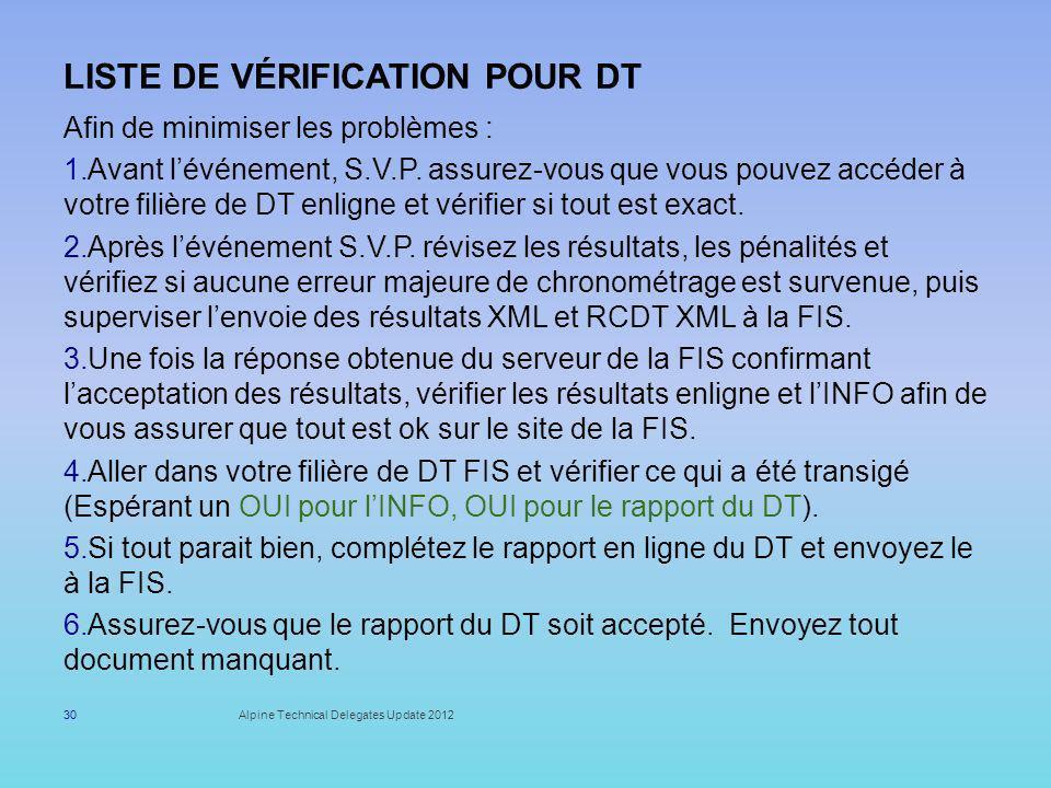 Liste de vérification pour DT