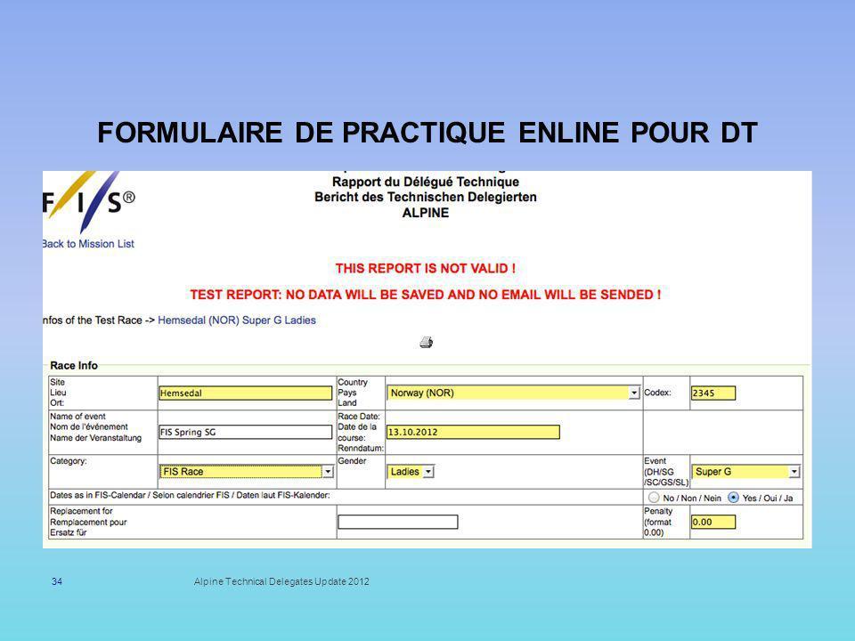 Formulaire de Practique enLINE pour DT