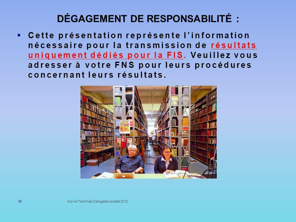 Dégagement de responsabilité :