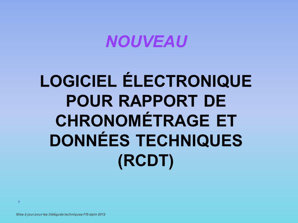Nouveau logiciel Électronique pour rapport de chronométrage et données techniques (RCDT)
