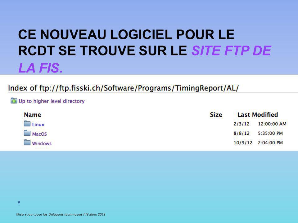 Ce nouveau logiciel pour le RCDT se trouve sur le site FTP de la FIS.
