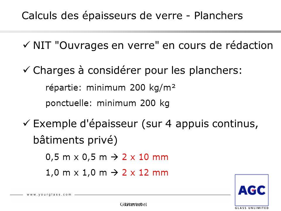 Calculs des épaisseurs de verre - Planchers