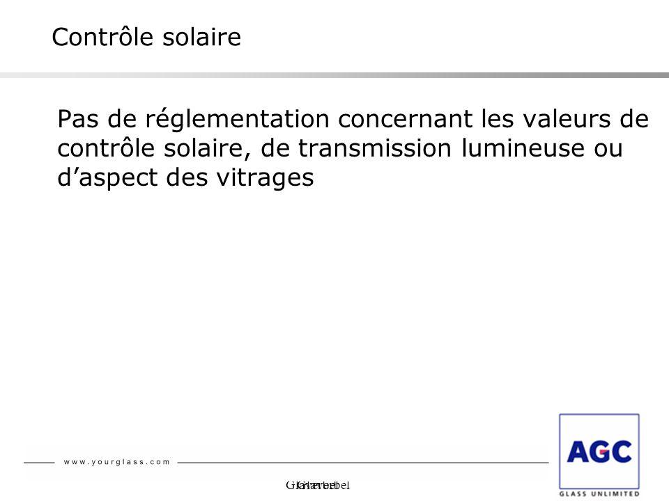 Contrôle solaire Pas de réglementation concernant les valeurs de contrôle solaire, de transmission lumineuse ou d'aspect des vitrages.