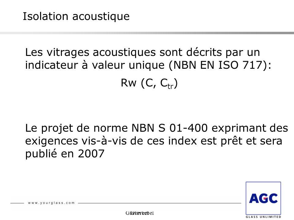 Isolation acoustique Les vitrages acoustiques sont décrits par un indicateur à valeur unique (NBN EN ISO 717):