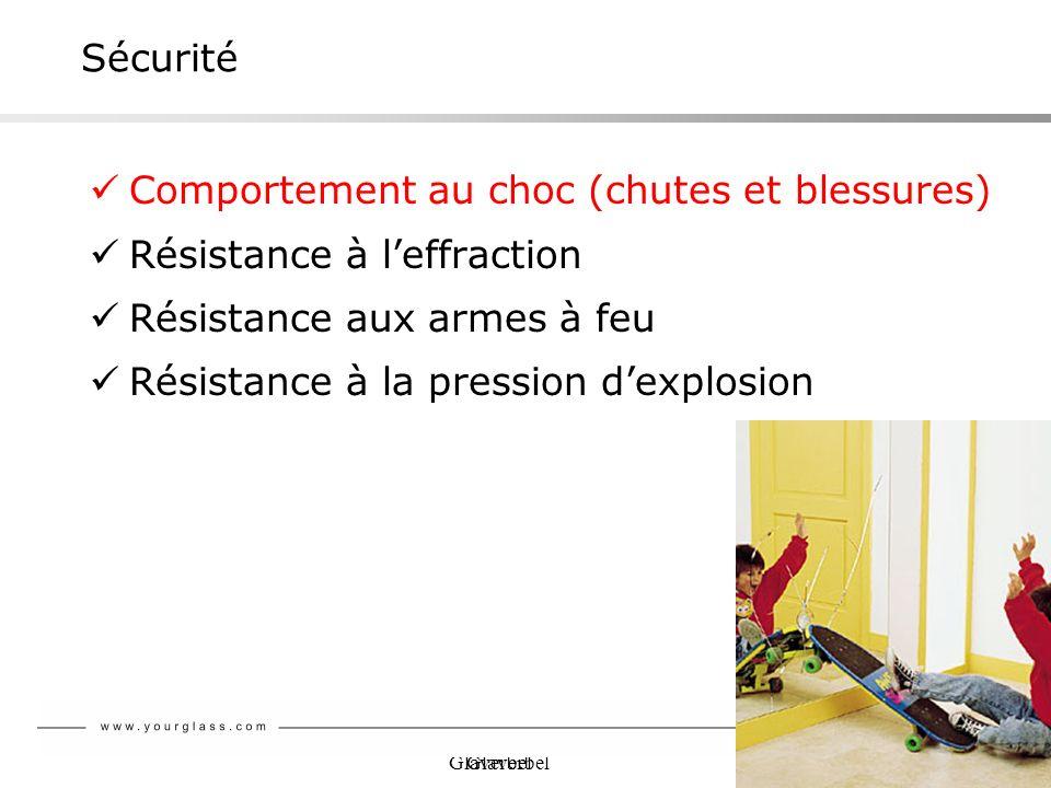Sécurité Comportement au choc (chutes et blessures) Résistance à l'effraction. Résistance aux armes à feu.