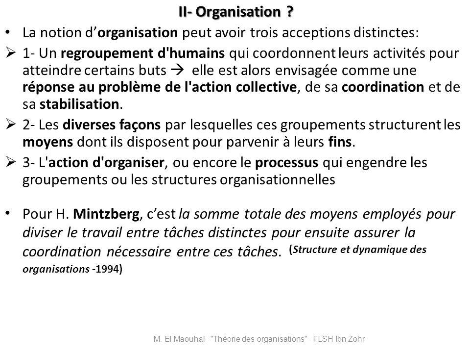 M. El Maouhal - Théorie des organisations - FLSH Ibn Zohr