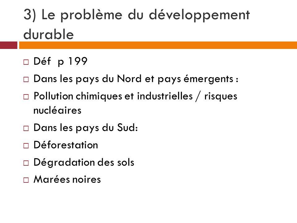 3) Le problème du développement durable