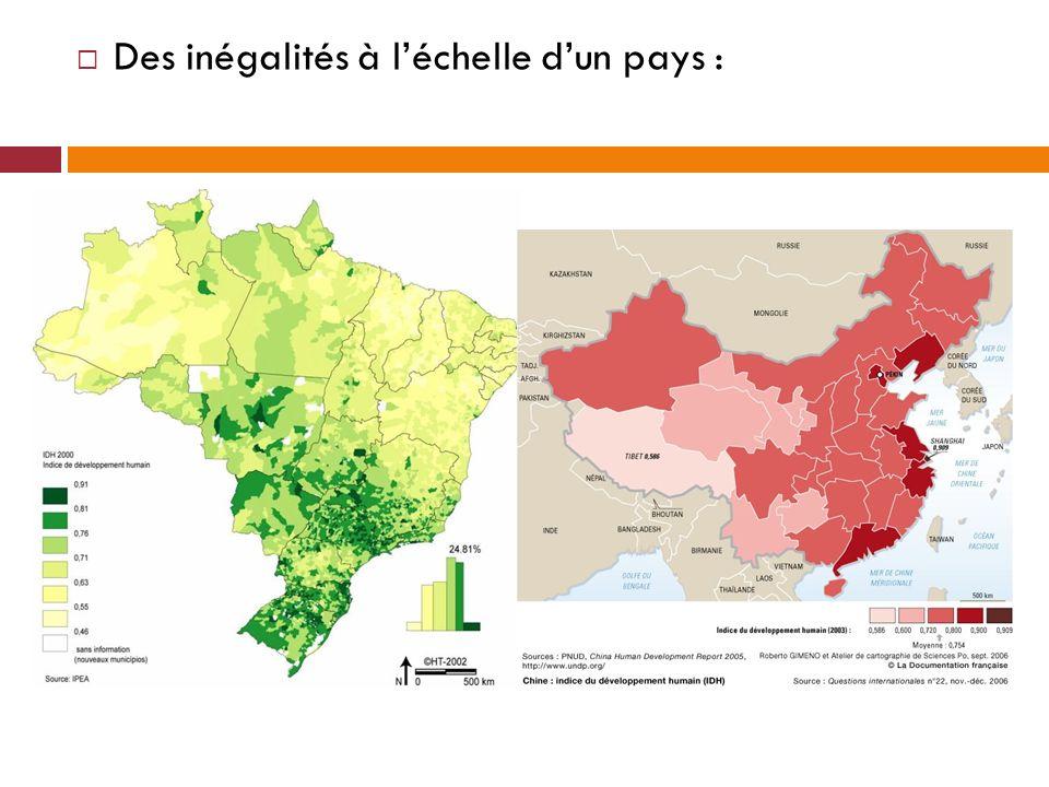 Des inégalités à l'échelle d'un pays :