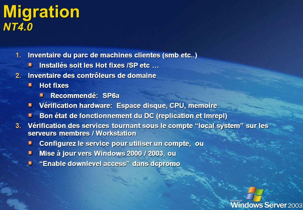 Migration NT4.0 Inventaire du parc de machines clientes (smb etc..)