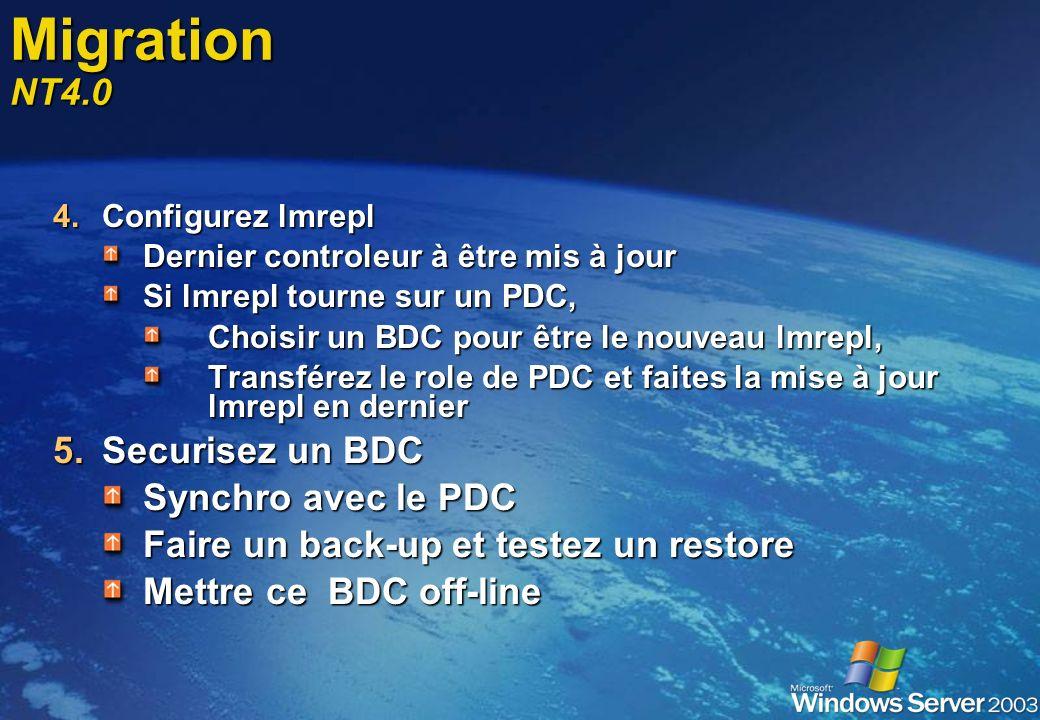 Migration NT4.0 Securisez un BDC Synchro avec le PDC