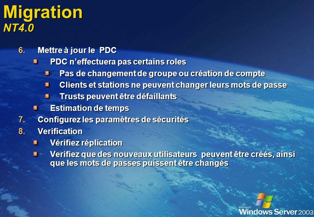 Migration NT4.0 Mettre à jour le PDC