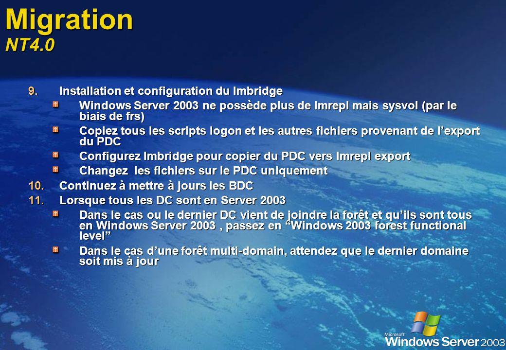 Migration NT4.0 Installation et configuration du lmbridge