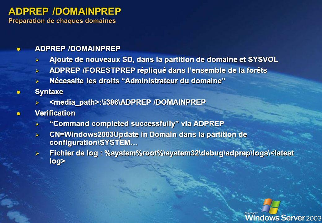 ADPREP /DOMAINPREP Préparation de chaques domaines