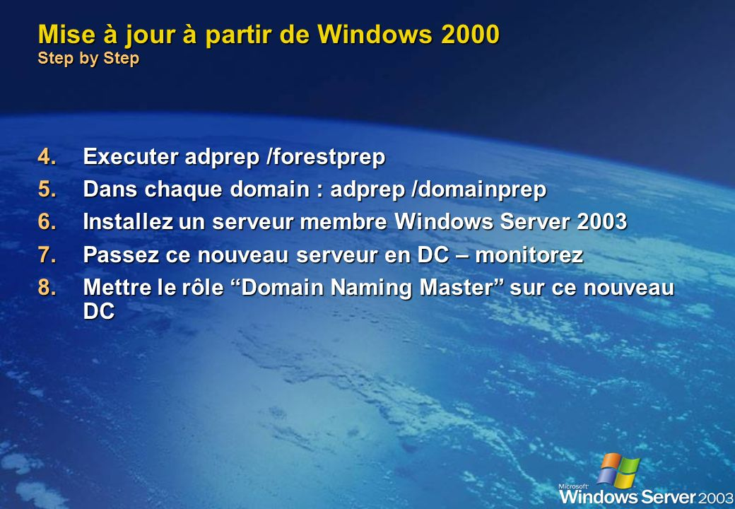 Mise à jour à partir de Windows 2000 Step by Step