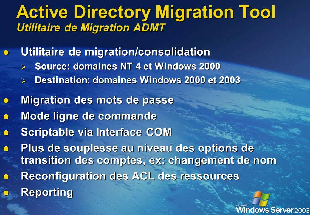 Active Directory Migration Tool Utilitaire de Migration ADMT