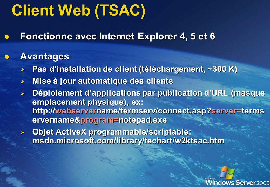 Client Web (TSAC) Fonctionne avec Internet Explorer 4, 5 et 6