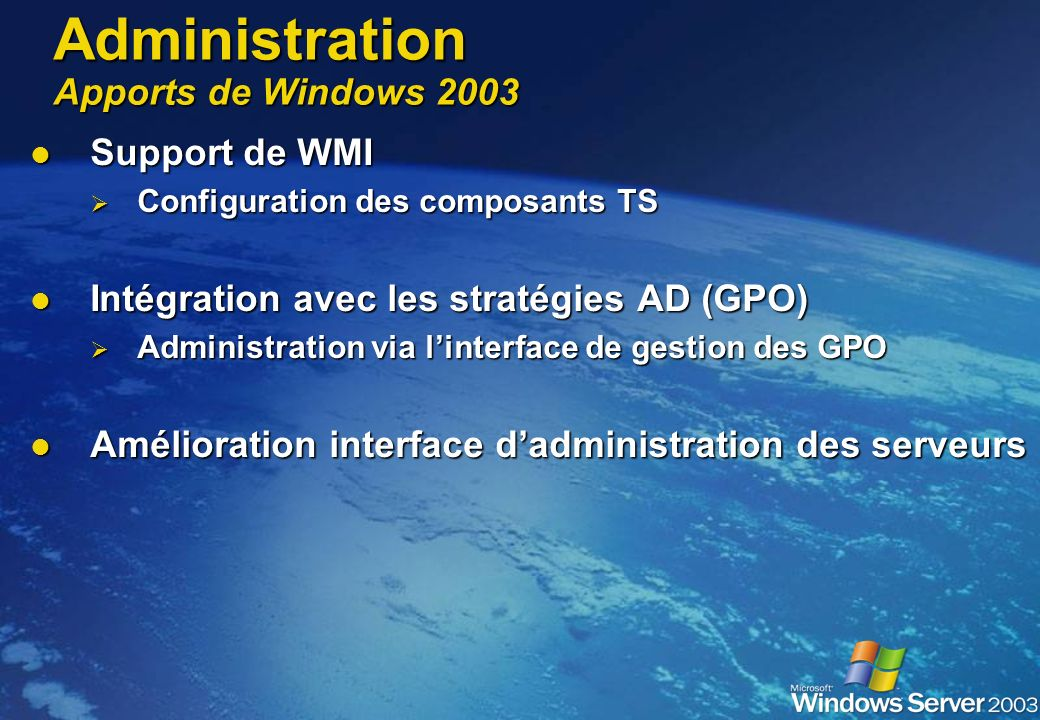 Administration Apports de Windows 2003