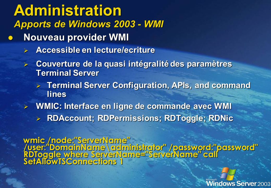 Administration Apports de Windows WMI