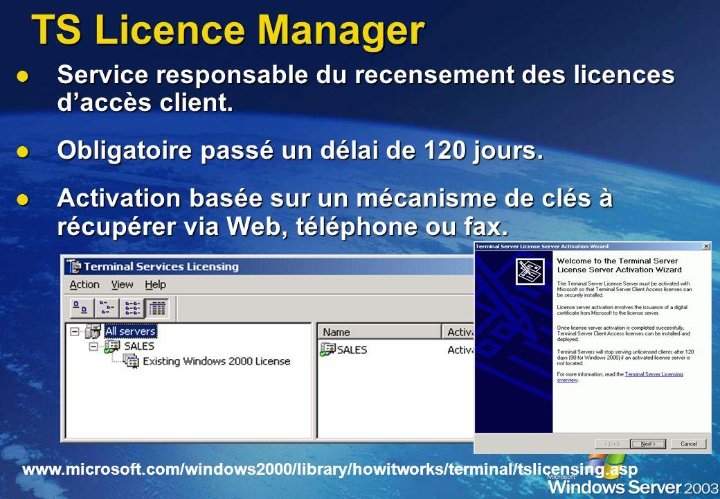 TS Licence Manager Service responsable du recensement des licences d'accès client. Obligatoire passé un délai de 120 jours.